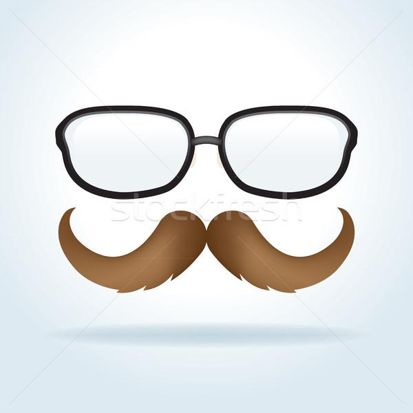 Szemüveg bajusz illusztráció pár kreatív vektor Stock fotó © enterlinedesign