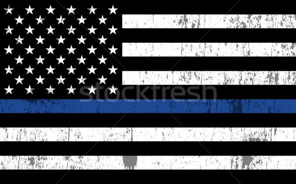 Polizia sostegno bandiera illustrazione bandiera americana simbolico Foto d'archivio © enterlinedesign