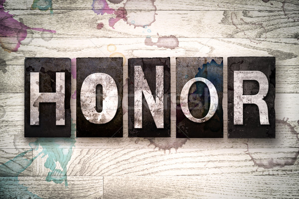 Honor Concept Metal Letterpress Type Stock photo © enterlinedesign