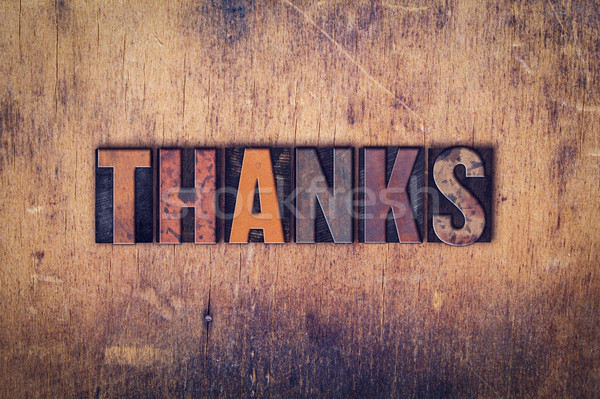Remerciements bois type mot écrit Photo stock © enterlinedesign