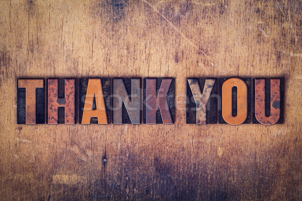 Thank You Concept Wooden Letterpress Type Stock photo © enterlinedesign