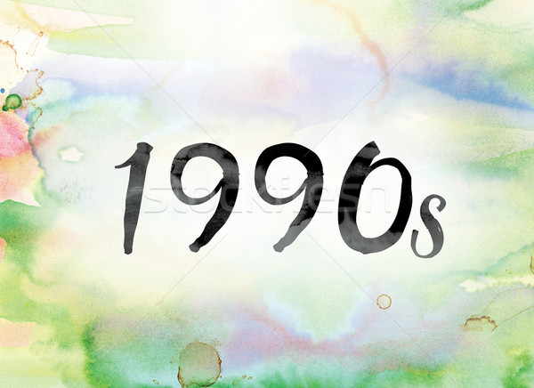 1990s Colorful Watercolor and Ink Word Art Stock photo © enterlinedesign