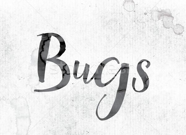 Bugs peint encre mot couleur pour aquarelle blanche Photo stock © enterlinedesign