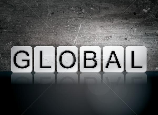 Globale betegelde brieven woord geschreven witte Stockfoto © enterlinedesign
