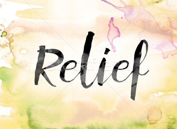 Relief Colorful Watercolor and Ink Word Art Stock photo © enterlinedesign
