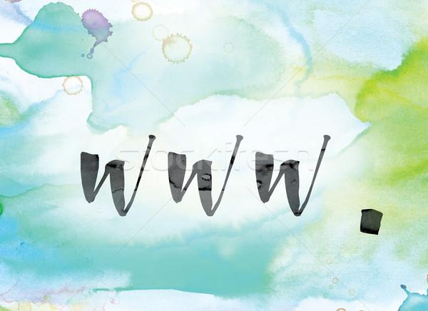 Www colorido acuarela tinta palabra arte Foto stock © enterlinedesign