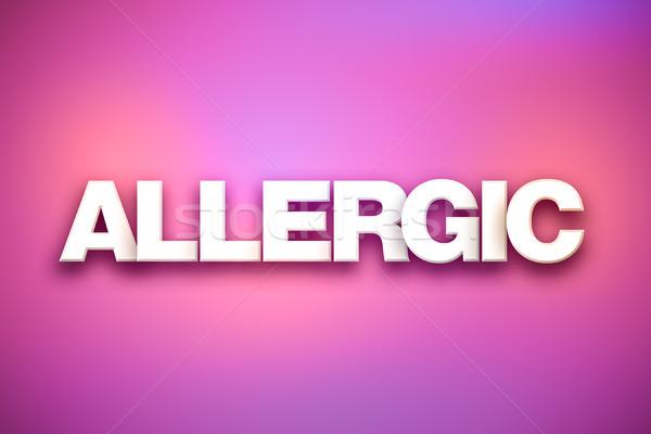 Alérgico palavra arte colorido escrito branco Foto stock © enterlinedesign