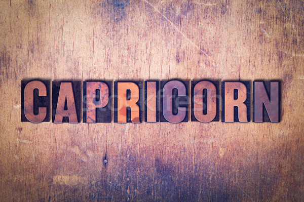 Capricorn Theme Letterpress Word on Wood Background Stock photo © enterlinedesign
