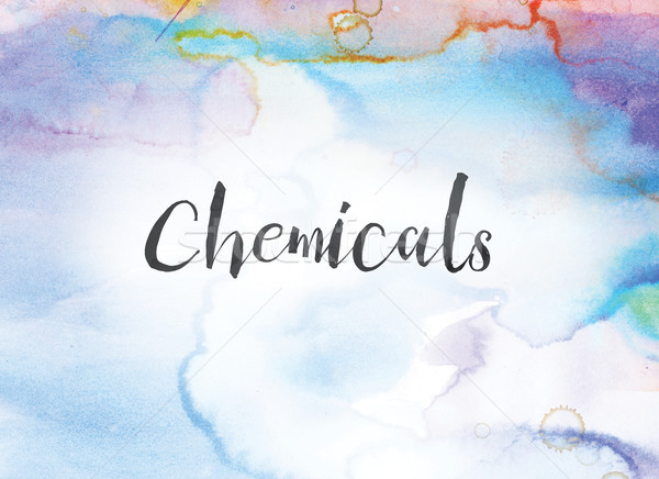 химикалии акварель чернила Живопись слово написанный Сток-фото © enterlinedesign