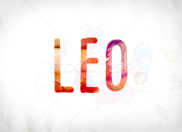 Leo Concept Painted Watercolor Word Art Stock photo © enterlinedesign