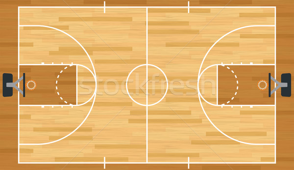 Realista vector cancha de baloncesto madera dura eps Foto stock © enterlinedesign
