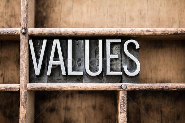 értékek klasszikus magasnyomás fiók szó Stock fotó © enterlinedesign