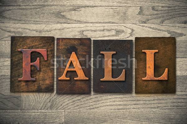 Fall Wooden Letterpress Theme Stock photo © enterlinedesign