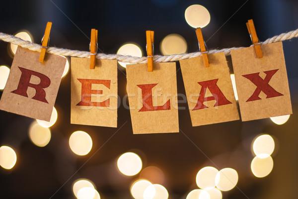 Relaxar cartões luzes palavra impresso prendedor de roupa Foto stock © enterlinedesign