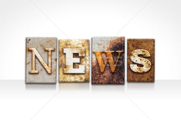 Stock fotó: Hírek · magasnyomás · izolált · fehér · szó · írott