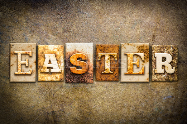 Easter Concept Letterpress Leather Theme Stock photo © enterlinedesign