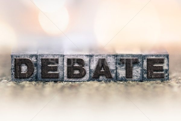 Debat vintage type woord geschreven Stockfoto © enterlinedesign