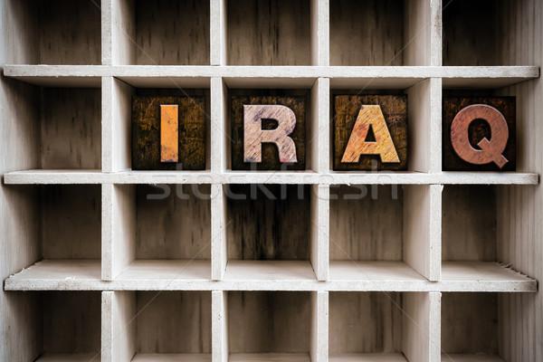 Irak ahşap tip çekmek kelime Stok fotoğraf © enterlinedesign