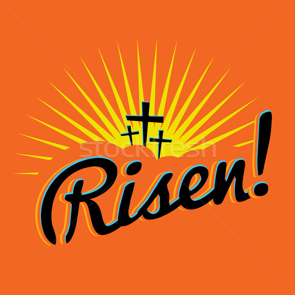 Risen Christian Easter Text Illustration Stock photo © enterlinedesign