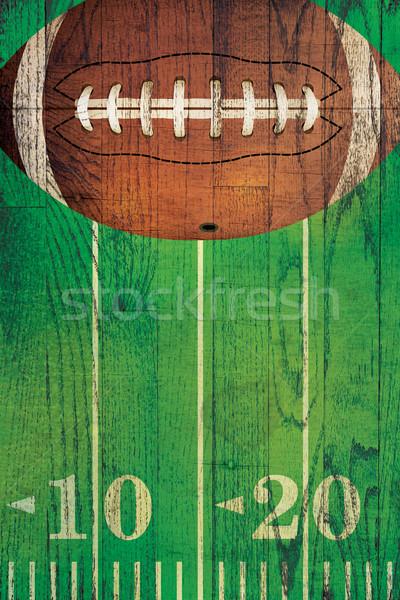 Vintage amerikaanse voetbal bal veld voetbalveld Stockfoto © enterlinedesign