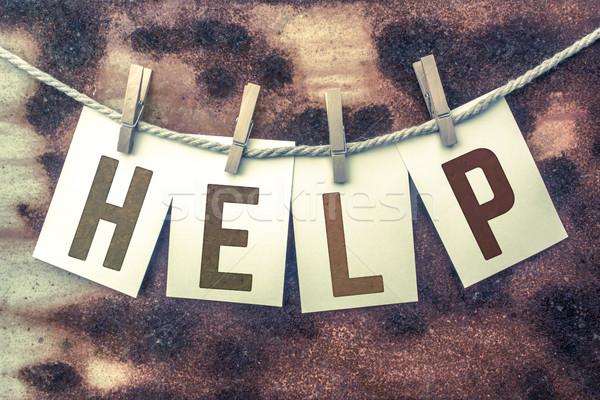Stock fotó: Segítség · kártyák · zsinór · szó · öreg · darab