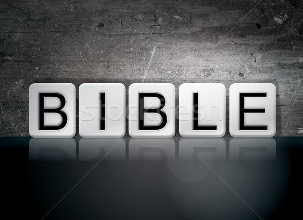 Bible carrelage lettres mot écrit blanche Photo stock © enterlinedesign