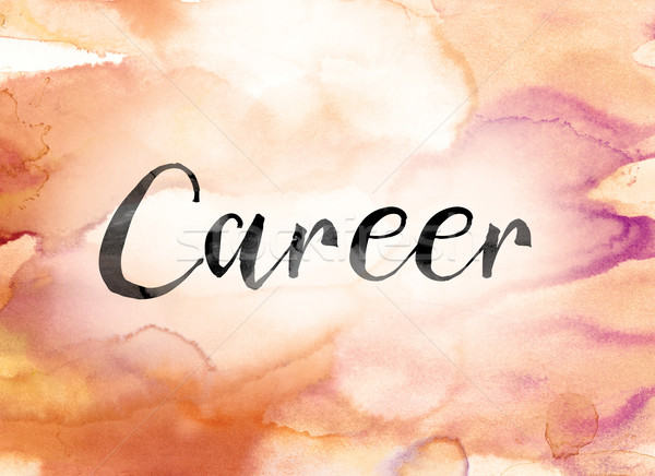 Career Colorful Watercolor and Ink Word Art Stock photo © enterlinedesign