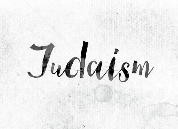 Jodendom geschilderd inkt woord aquarel witte Stockfoto © enterlinedesign