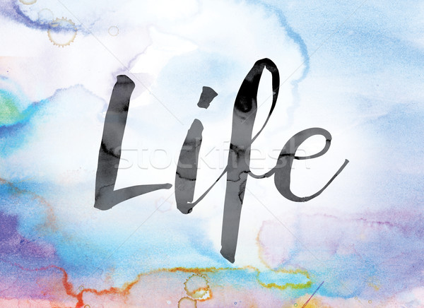 Life Colorful Watercolor and Ink Word Art Stock photo © enterlinedesign