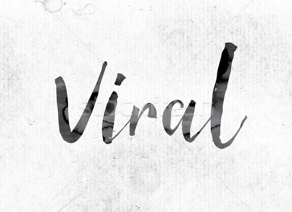 Virale verniciato inchiostro parola acquerello bianco Foto d'archivio © enterlinedesign