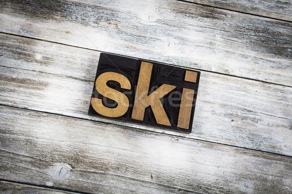 Stockfoto: Ski · woord · houten · geschreven · type