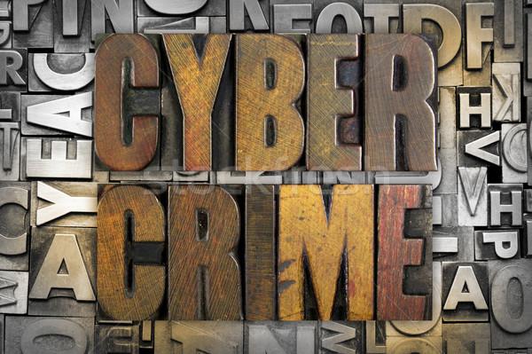 Bűnözés szavak írott klasszikus magasnyomás Stock fotó © enterlinedesign