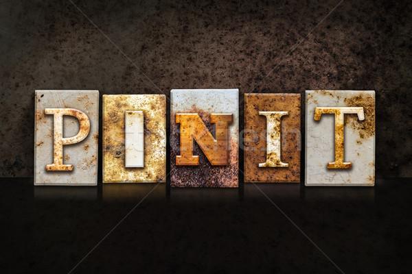 Pin It Letterpress Concept on Dark Background Stock photo © enterlinedesign