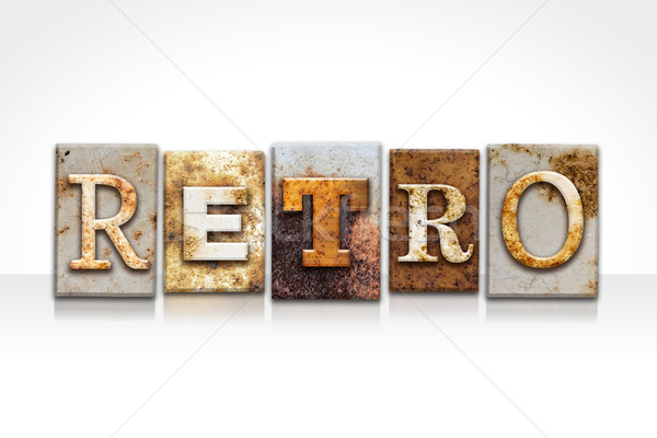 Retro Letterpress Concept Isolated on White Stock photo © enterlinedesign