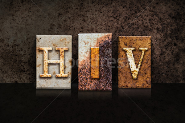 HIV Letterpress Concept on Dark Background Stock photo © enterlinedesign