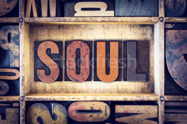 Soul Concept Letterpress Type Stock photo © enterlinedesign