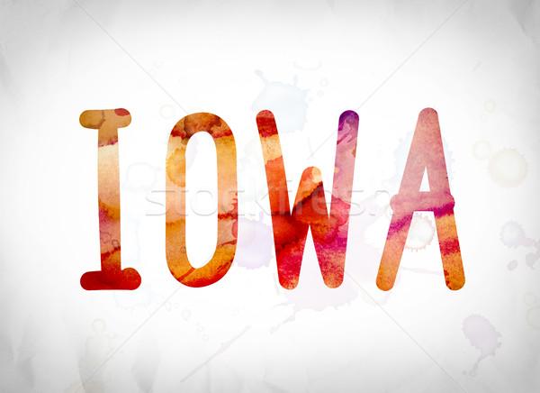 Айова акварель слово искусства написанный белый Сток-фото © enterlinedesign