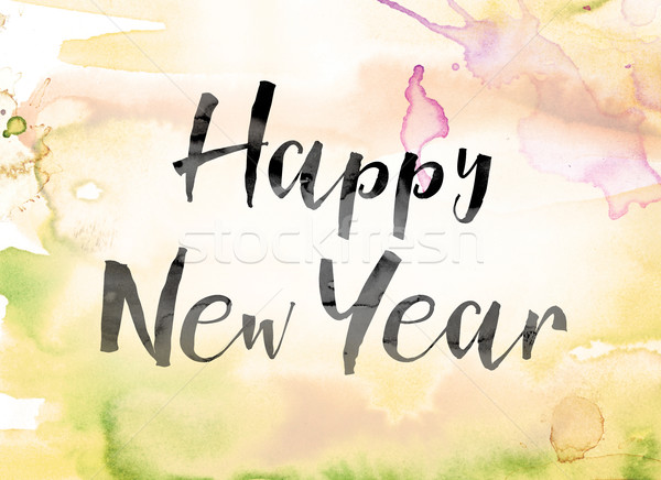 Happy New Year Colorful Watercolor and Ink Word Art Stock photo © enterlinedesign