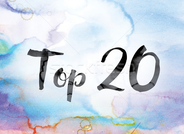 Top 20 Colorful Watercolor and Ink Word Art Stock photo © enterlinedesign