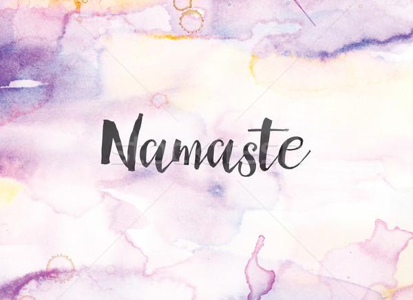 Namaste vízfesték tinta festmény szó írott Stock fotó © enterlinedesign
