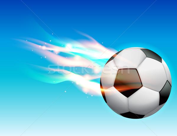 Foto stock: Llameante · balón · de · fútbol · cielo · vuelo · vector · eps