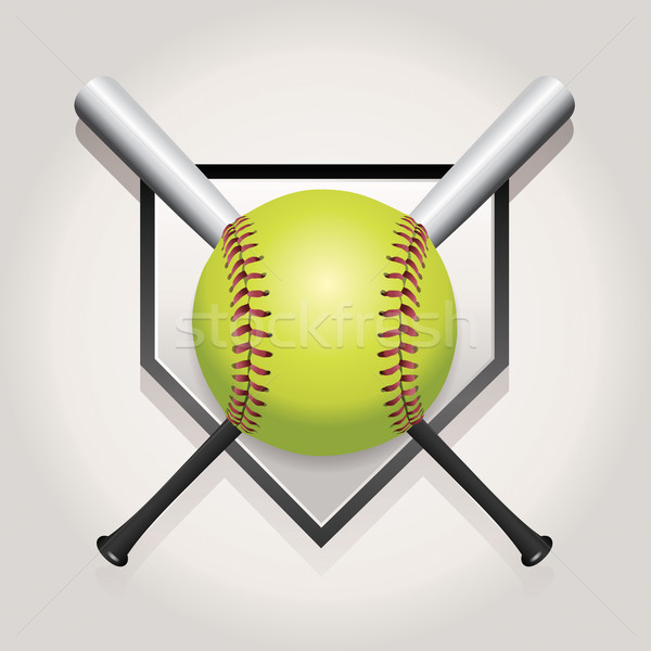 Softball bat emblème illustration maison plaque Photo stock © enterlinedesign