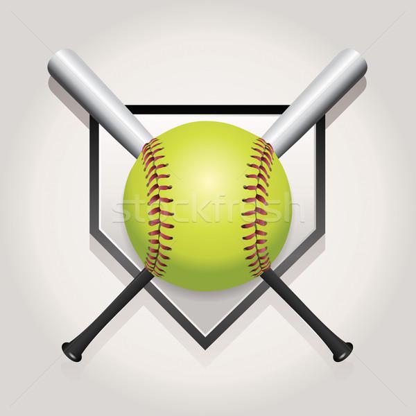 Softbal bat embleem illustratie home plaat Stockfoto © enterlinedesign