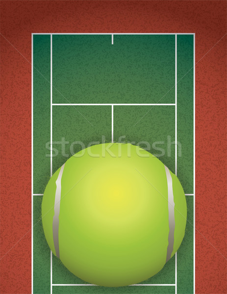 Realistic Textured Tennis Court and Ball Illustration Stock photo © enterlinedesign