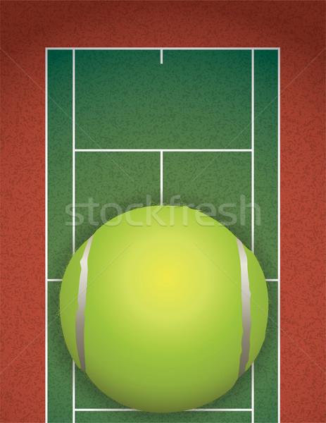Realista quadra de tênis bola ilustração bola de tênis Foto stock © enterlinedesign