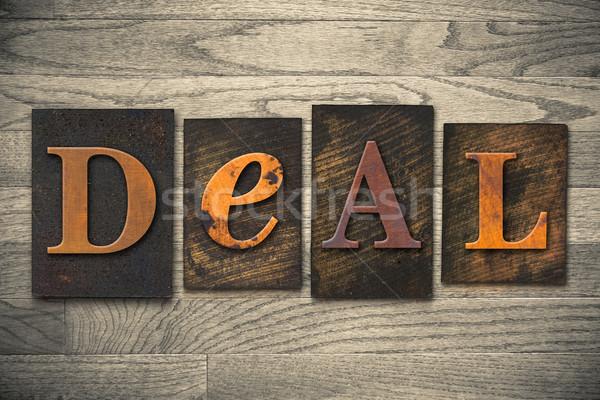 Stock photo: Deal Concept Wooden Letterpress Type