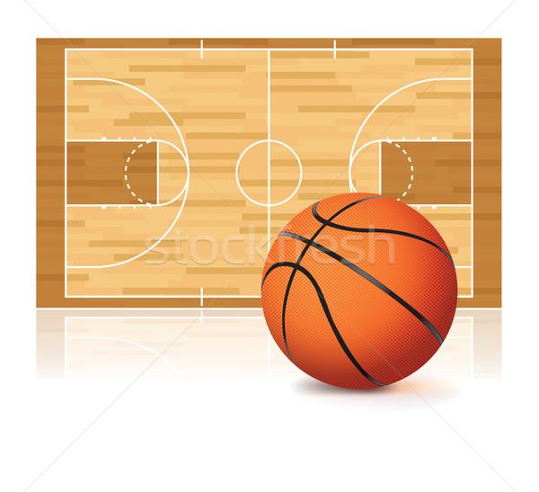 Cancha de baloncesto aislado blanco ilustración baloncesto vector Foto stock © enterlinedesign