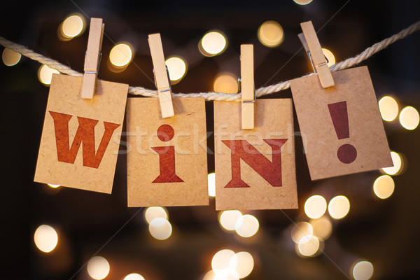 Win Concept Clipped Cards and Lights Stock photo © enterlinedesign