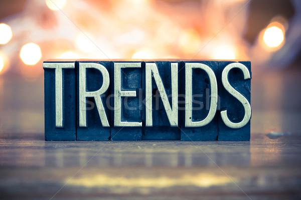 Тенденции металл тип слово написанный Сток-фото © enterlinedesign