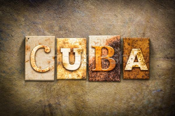 Küba deri kelime yazılı paslı Stok fotoğraf © enterlinedesign